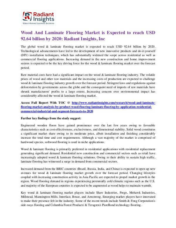 Wood and Laminate Flooring Market is Expected to Reach USD 92.64 Wood And Laminate Flooring Market 2020