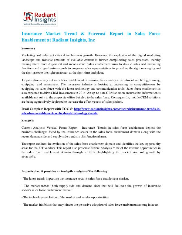 Insurance Market Trend & Forecast Report in Sales Force Enablement Insurance Market Trend & Forecast Report