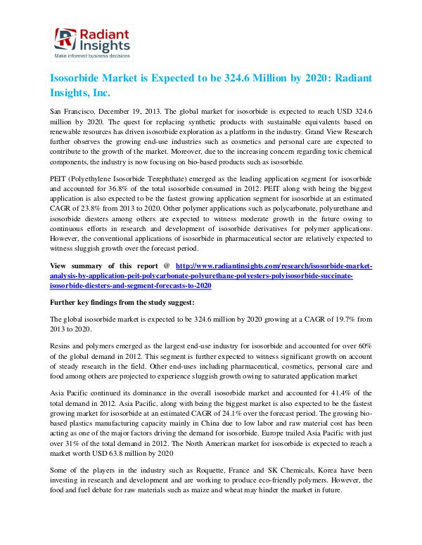 Isosorbide Market is Expected to Be 324.6 Million by 2020 Isosorbide Market 2020