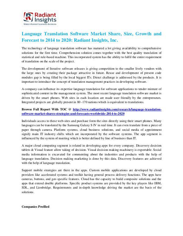 Language Translation Software Market Share, Size, Growth 2020 Language Translation Software Market 2020
