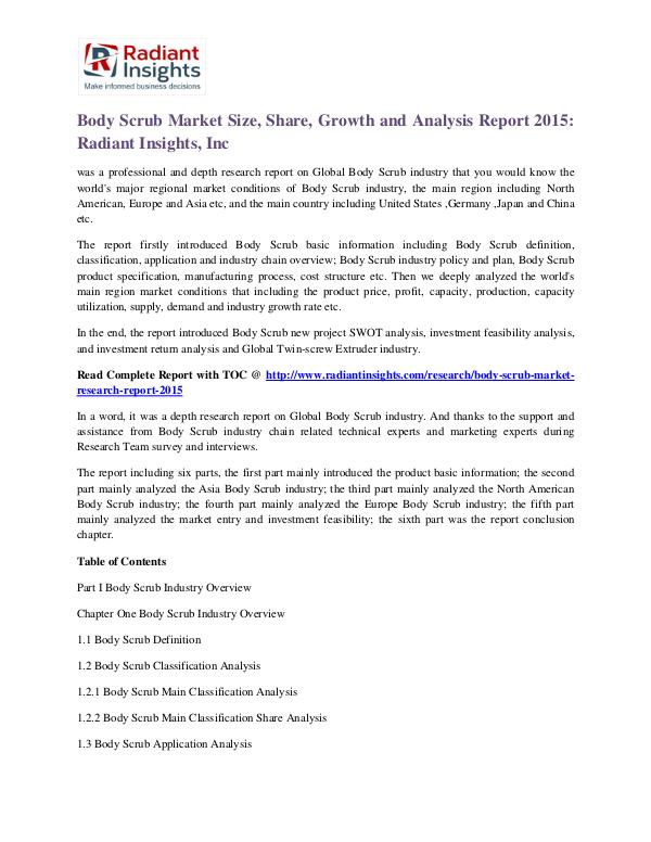 Body Scrub Market Size, Share, Growth and Analysis Report 2015 Body Scrub Market 2015