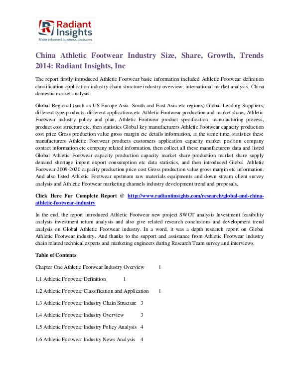 China Athletic Footwear Industry Size, Share, Growth, Trends 2014 China Athletic Footwear Industry 2014