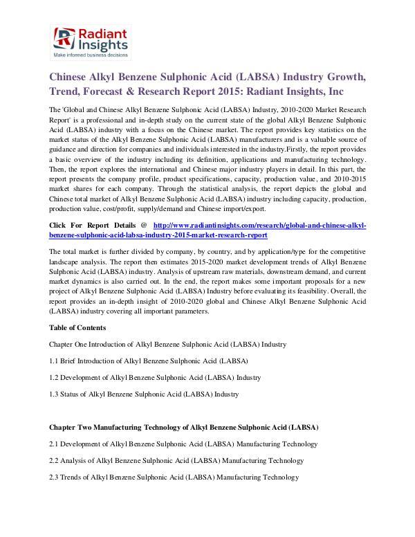 Chinese Alkyl Benzene Sulphonic Acid (LABSA) Industry Growth 2015 Alkyl Benzene Sulphonic Acid (LABSA) Industry 2015