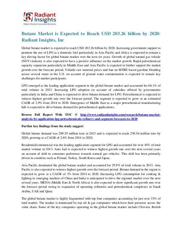 Butane Market is Expected to Reach USD 203.26 Billion by 2020 Butane Market 2020