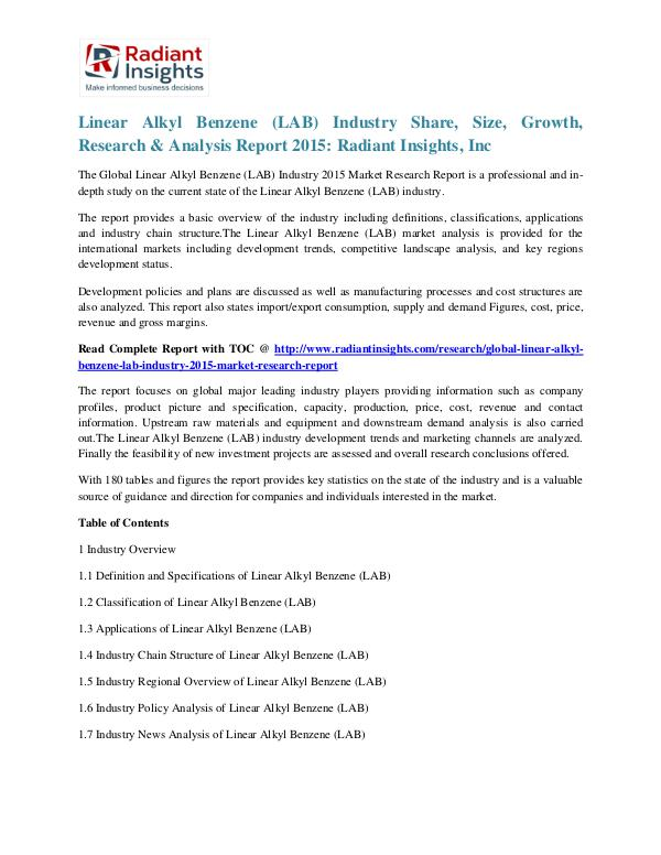 Linear Alkyl Benzene (LAB) Industry Share, Size, Growth, Research2015 Linear Alkyl Benzene (LAB) Industry 2015