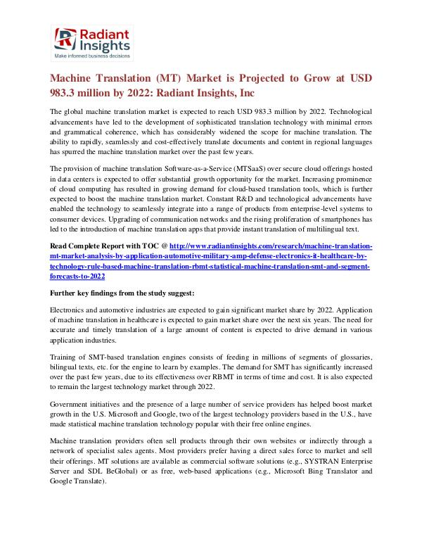 Machine Translation (MT) Market is Projected to Grow at USD 983.3 Machine Translation (MT) Market 2022