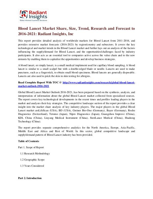 Blood Lancet Market Share, Size, Trend, Research and Forecast to 2016 Blood Lancet Market 2016-2021