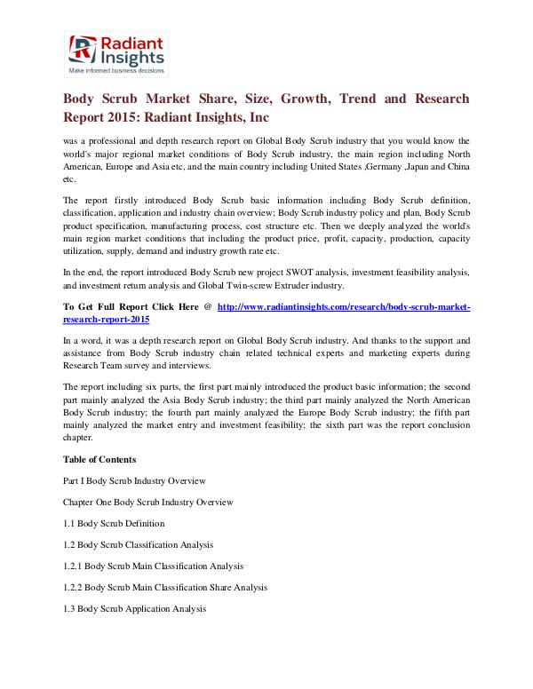 Body Scrub Market Share, Size, Growth, Trend and Research Report 2015 Body Scrub Market 2015