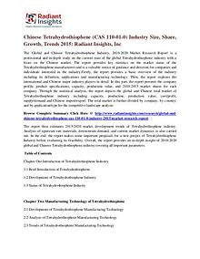 Chinese Tetrahydrothiophene (CAS 110-01-0) Industry Size, Share 2015