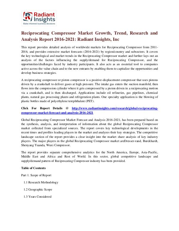 Reciprocating Compressor Market Growth, Trend, Research 2021 Reciprocating Compressor Market 2016-2021