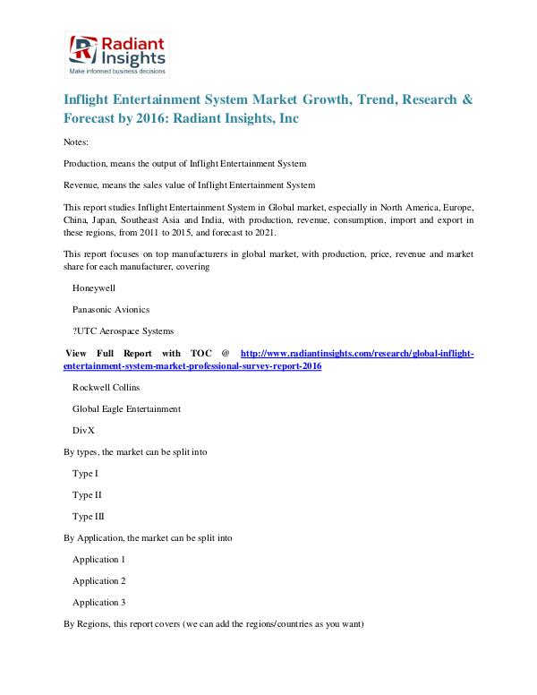 Inflight Entertainment System Market Growth, Trend, Research 2016 Inflight Entertainment System Market 2016