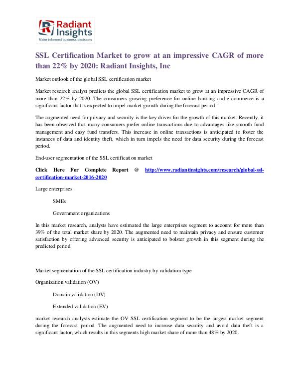 SSL Certification Market to Grow at a CAGR 22% SSL Certification Market 2020
