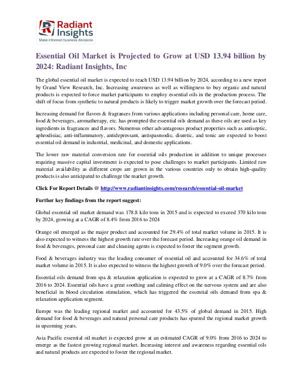 Essential Oil Market is Projected to Grow at USD 13.94 Billion by2024 Essential Oil Market 2024