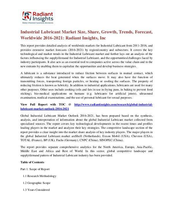 Industrial Lubricant Market Size, Share, Growth, Trend, Forecast 2021 Industrial Lubricant Market 2016-2021