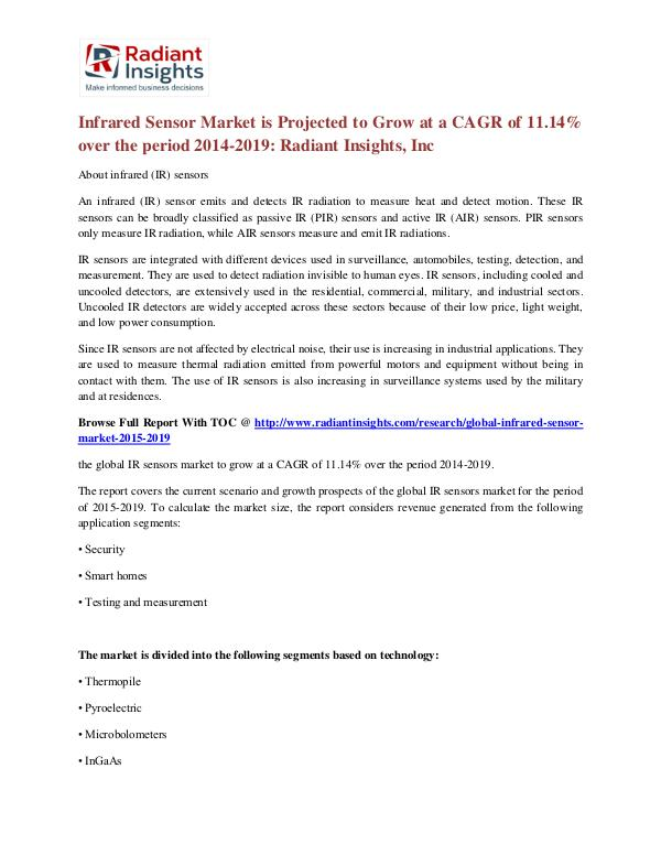 Infrared Sensor Market is Projected to Grow at a CAGR of 11.14% Infrared Sensor Market 2014-2019