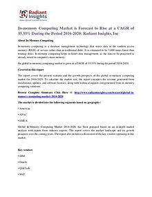 In-memory Computing Market is Forecast to Rise at a CAGR of 33.33%