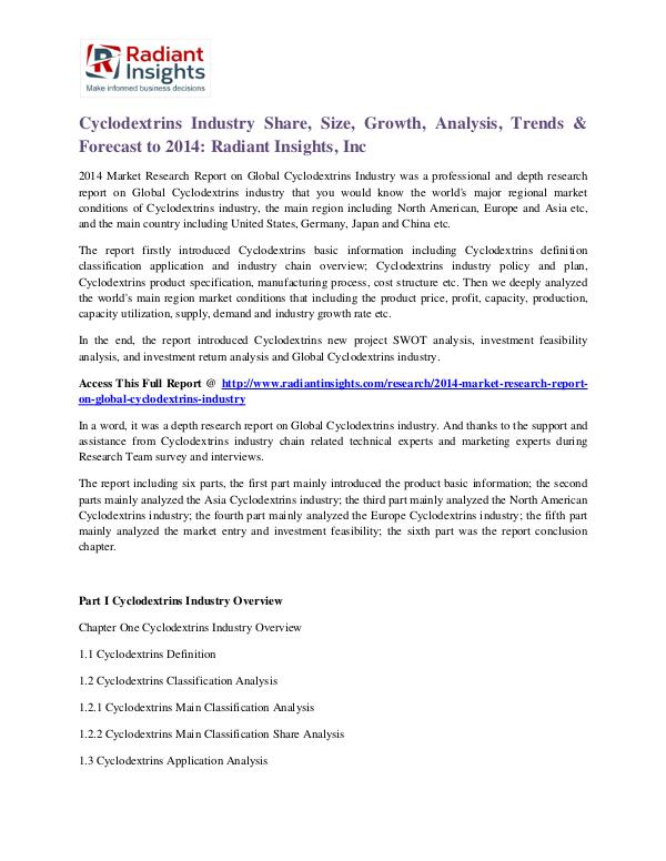Cyclodextrins Industry Share, Size, Growth, Analysis, Trends 2014 Cyclodextrins Industry 2014