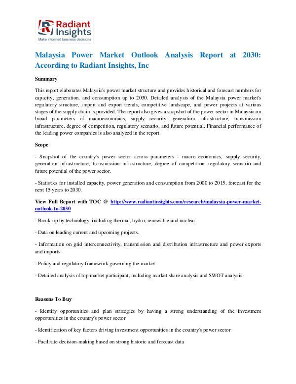 Malaysia Power Market Outlook Analysis Report at 2030 Malaysia Power Market 2030