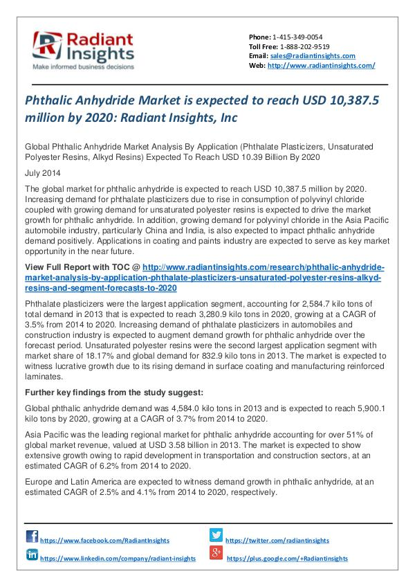 Phthalic Anhydride Market is Expected to Reach USD 10,387.5 Million Phthalic Anhydride Market 2020