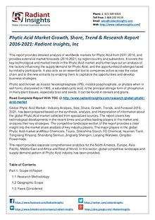 Phytic Acid Market Growth, Share, Trend & Research Report 2016-2021