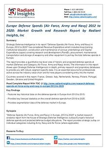 Europe Defense Spends (Air Force, Army and Navy) 2012 to 2020
