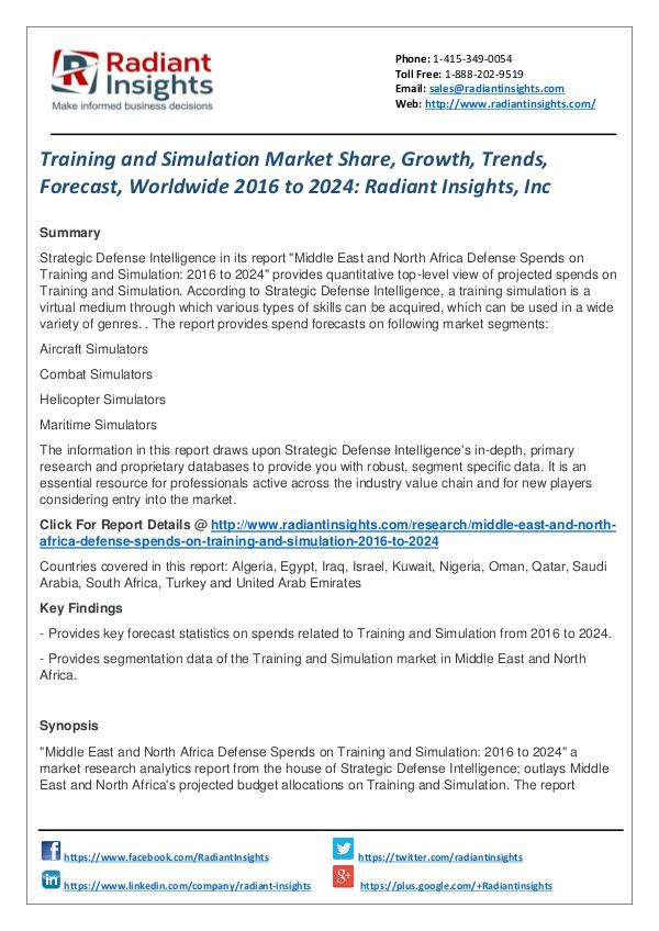 Training and Simulation Market Share, Growth, Trends, Forecast 2024 Training and Simulation Market  2016 to 2024