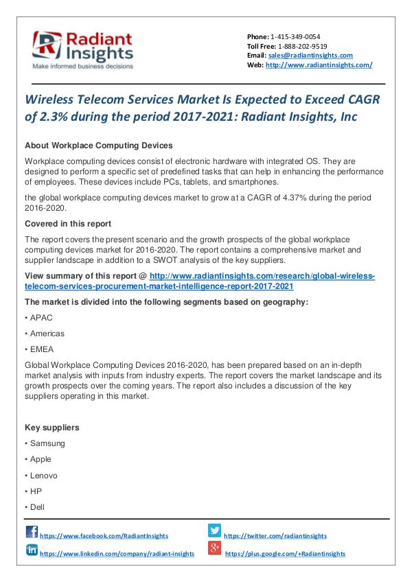 Wireless Telecom Services Market is Expected to Exceed CAGR of 2.3% Wireless Telecom Services Market  2017-2021
