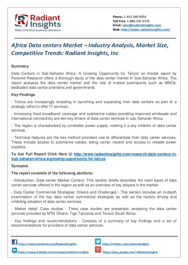 Africa Data Centers Market – Industry Analysis, Market Size Africa Data centers Market