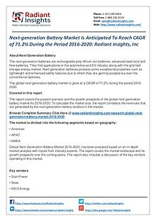 Next-generation Battery Market is Anticipated to Reach CAGR of 71.2%