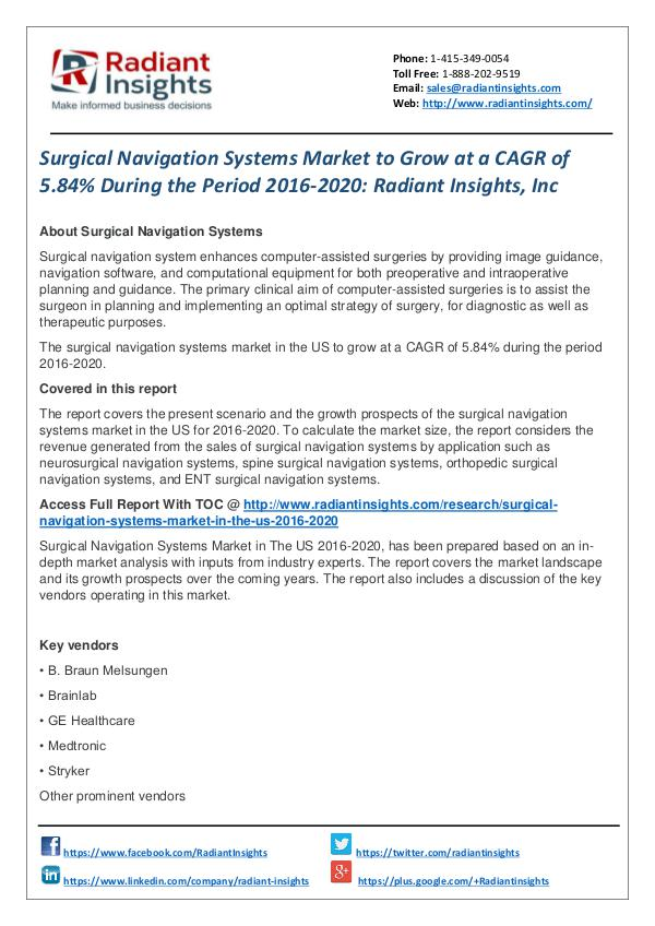 Surgical Navigation Systems Market to Grow at a CAGR of 5.84% Surgical Navigation Systems Market 2016-2020