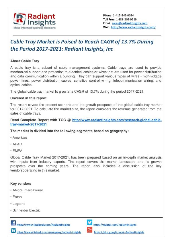 Cable Tray Market is Poised to Reach CAGR of 13.7% During the Period Cable Tray Market 2017-2021