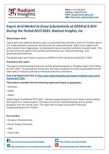 Capric Acid Market to Grow Substantially at CAGR of 6.85%