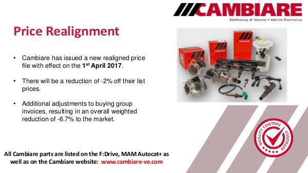 Cambiare Price Realignment