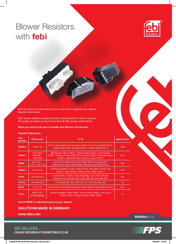 CAM026 FPS febi Q4 2019 Blower Resistors Advert v2