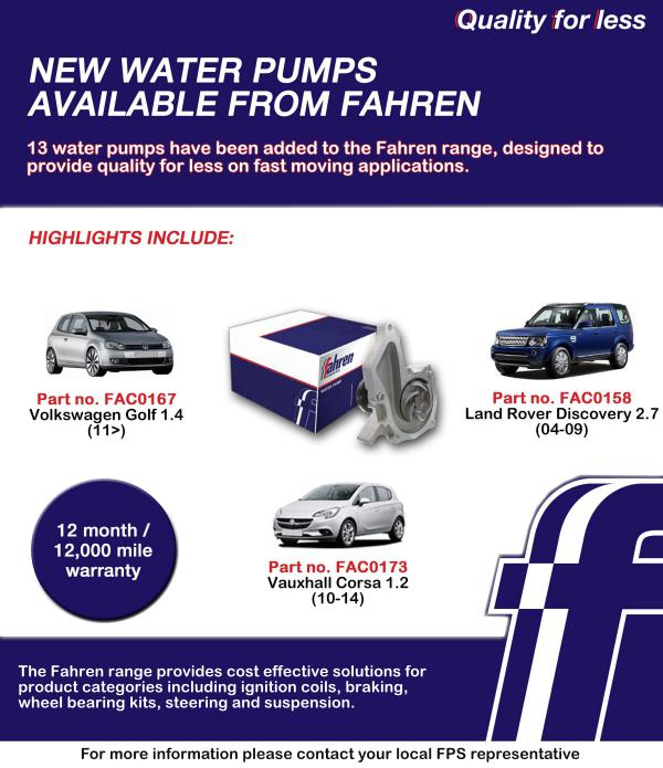FDrive New water pumps available from Fahren