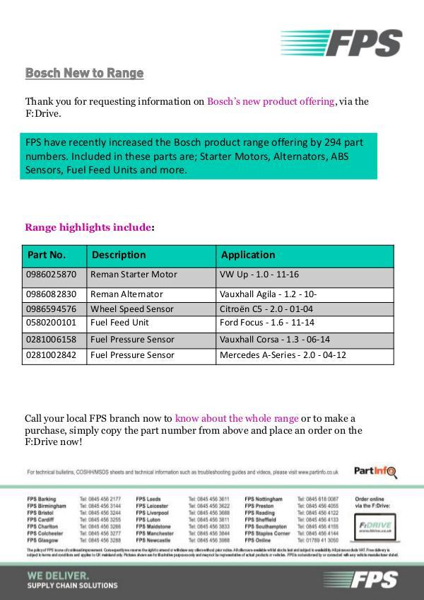 FDrive Bosch New to Range