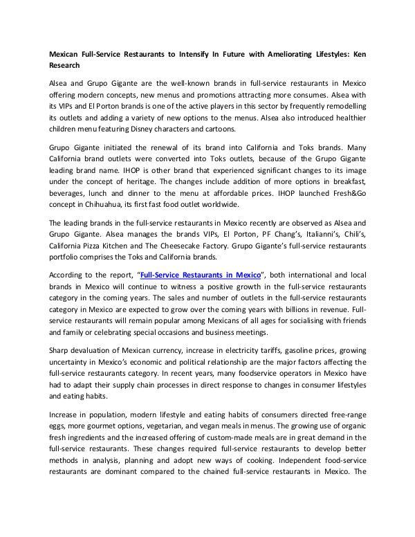 Market Research Reports - Ken Research Global Full Service Restaurants Market Research