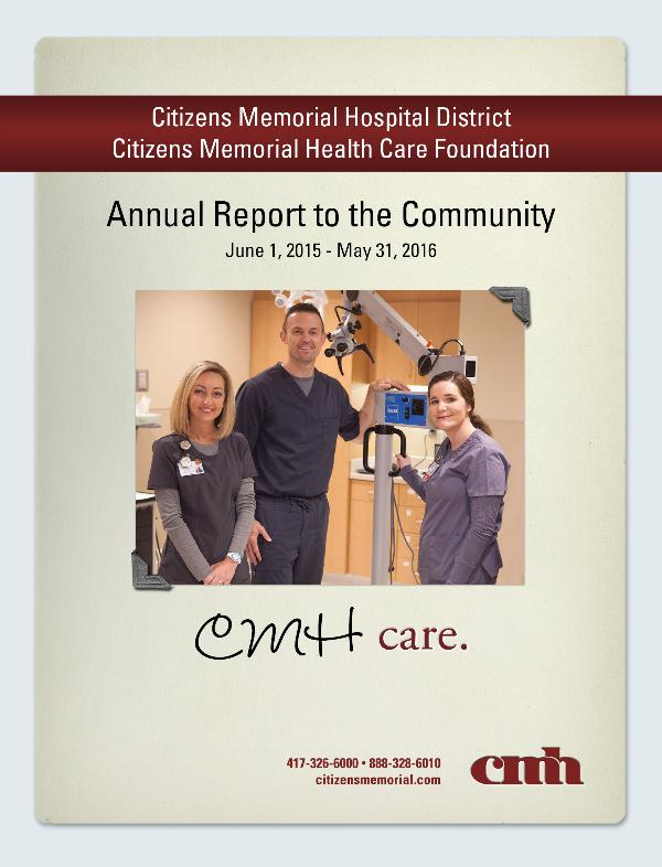 CMH Annual Report June 1, 2015 - May 31, 2016