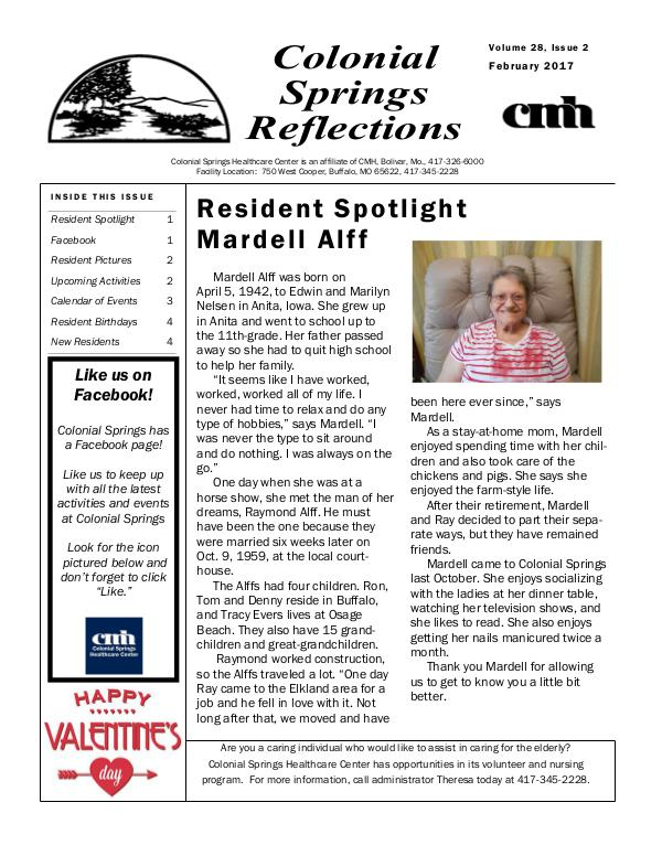 Colonial Springs Reflections February 2017
