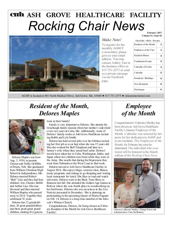 Ash Grove Healthcare Facility's Rocking Chair News February 2017