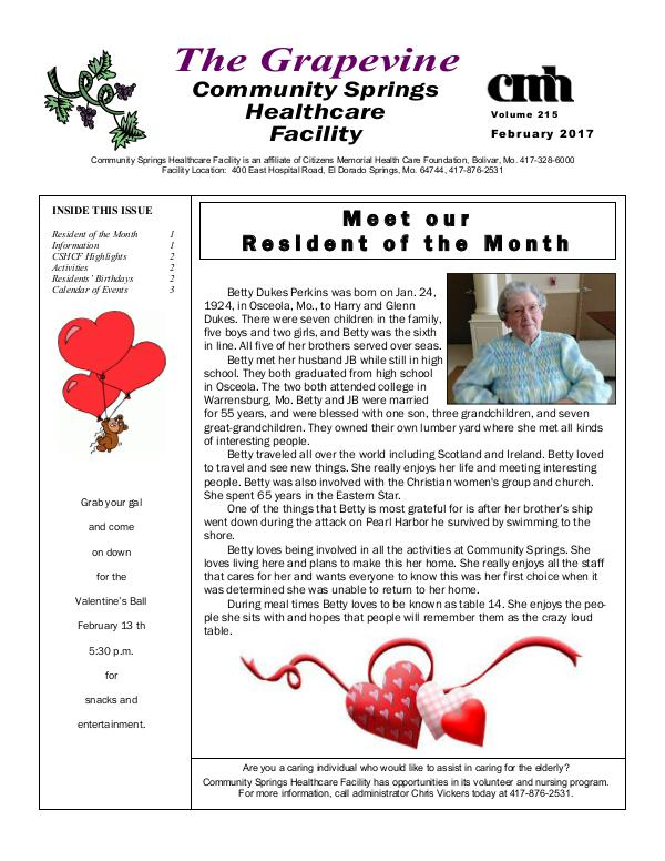 Community Springs Healthcare Facility's The Grapevine February 2017