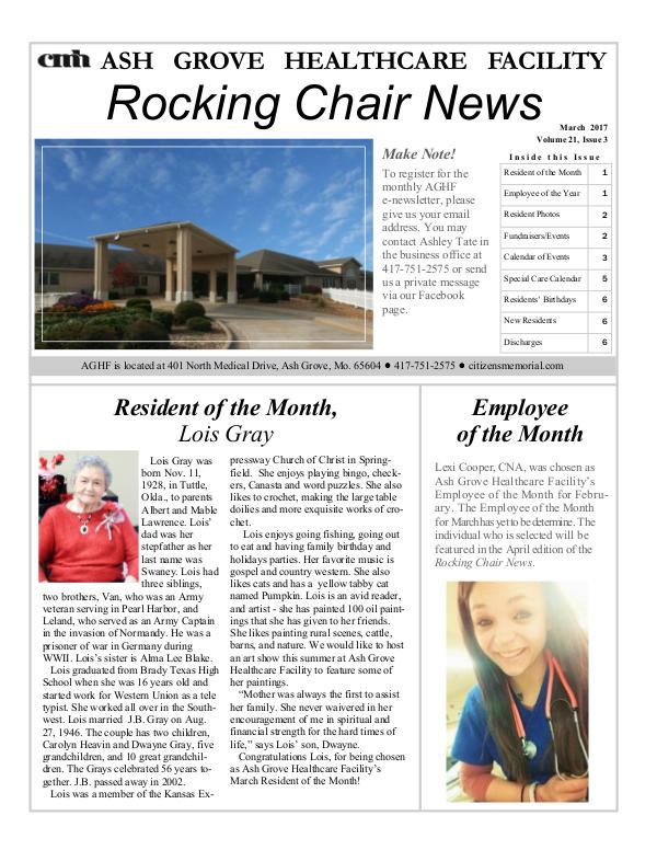 Ash Grove Healthcare Facility's Rocking Chair News March 2017