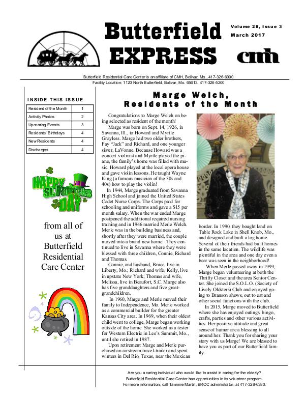 Butterfield Residential Care Center's Butterfield Express March 2017