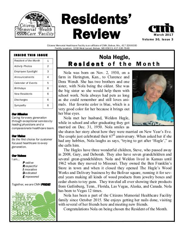 CMHCF Residents' Review March 2017