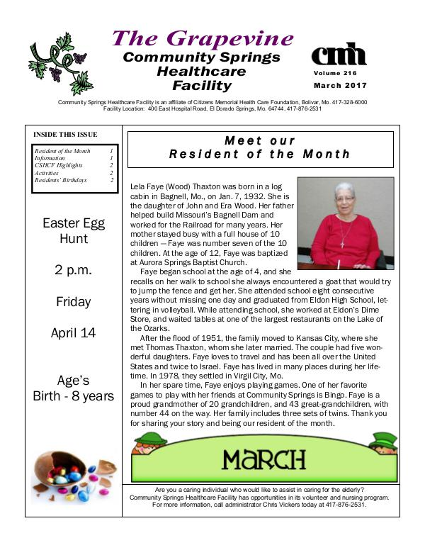 Community Springs Healthcare Facility's The Grapevine March 2017