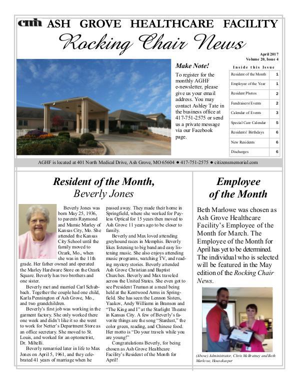 Ash Grove Healthcare Facility's Rocking Chair News April 2017