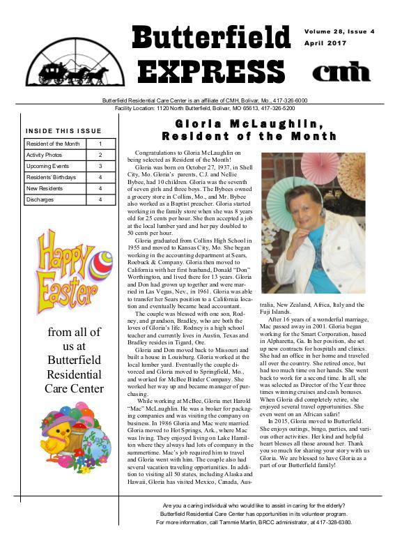 Butterfield Residential Care Center's Butterfield Express April 2017