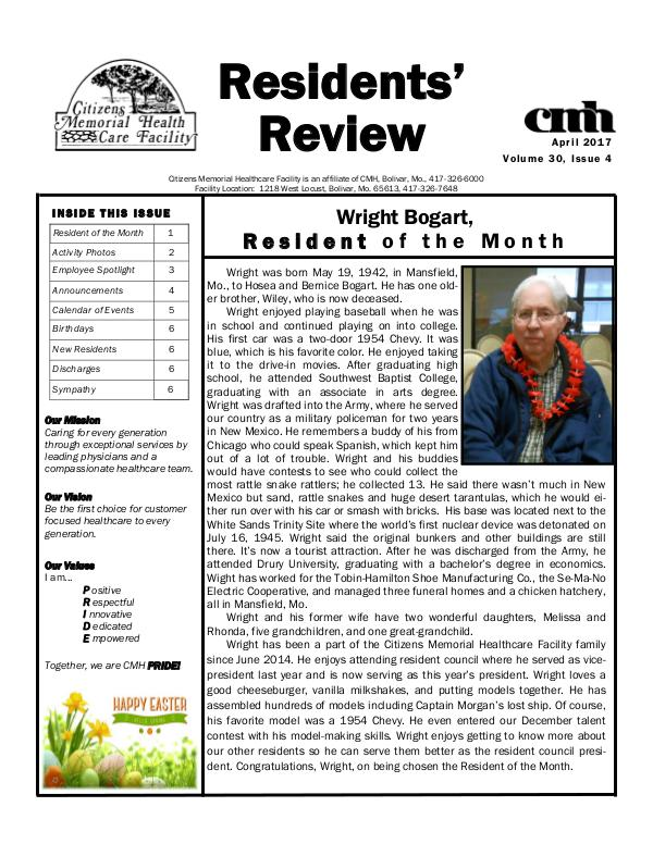 CMHCF Residents' Review April 2017