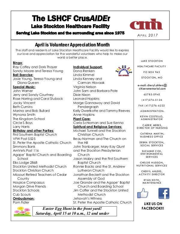 Lake Stockton Healthcare Facility eNewsletter April 2017
