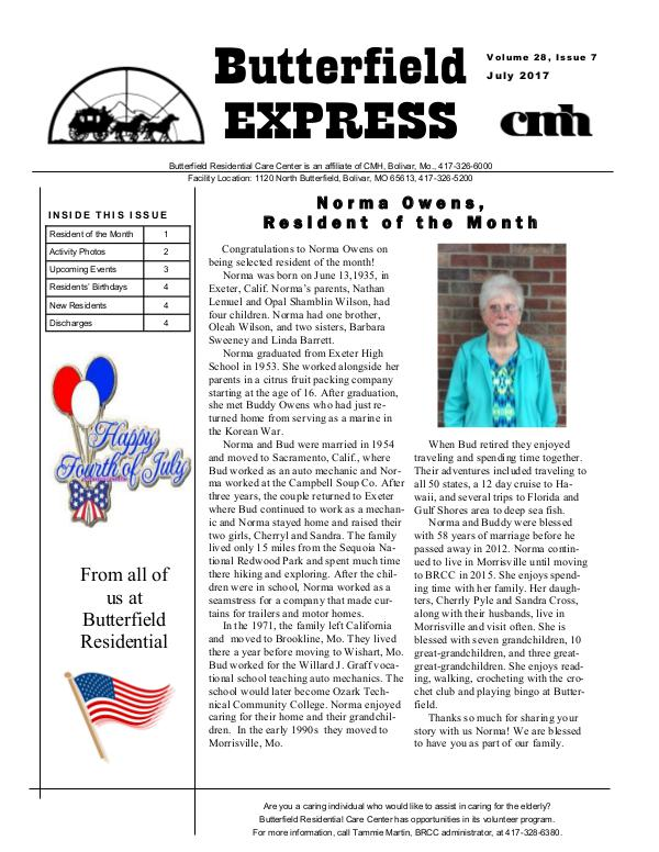 Butterfield Residential Care Center's Butterfield Express July 2017
